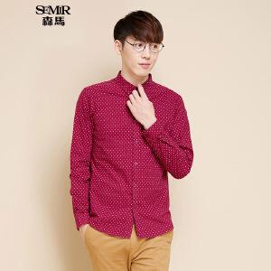 森马长袖衬衫 冬装 男士修身方领印花商务休闲衬衣韩版潮