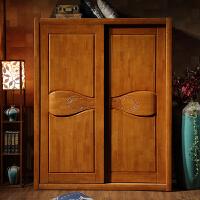 中式实木衣柜两门推拉衣柜橡胶木衣橱小户型移门衣柜 2门 组装