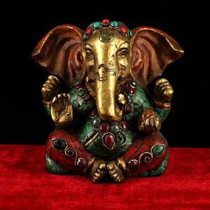 纯铜纯手工打造镶嵌宝石彩绘象鼻财神