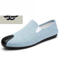 夏季透气韩版男士帆布鞋懒人一脚蹬亚麻布豆豆休闲板潮子时尚型