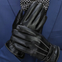韩版骑车手套男学生真皮手套男冬骑行男士保暖加厚羊皮手套