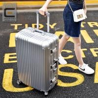 拉杆箱万向轮24寸铝框皮箱旅行箱女行李箱26寸包硬箱复古登机箱20 银色 铝框箱豪华款 20寸高档铝框箱 终身保修