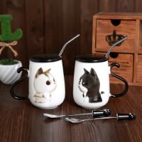 简约个性可爱情侣杯子一对猫咪陶瓷带盖勺马克杯吸管办公牛奶水杯