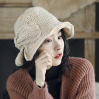 韩版羊毛混纺钩针毛线帽小沿渔夫帽女简约蝴蝶结休闲盆帽逛街