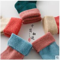 秋冬款袜子女加厚保暖翻边中筒2穿袜日系中筒袜毛圈毛线加绒毛袜