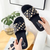 凉拖 女士珍珠平跟外穿凉拖2019夏季新款韩版时尚女式休闲洋气拖鞋女鞋沙滩鞋