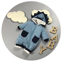 婴儿衣服冬季男女宝宝连体衣加厚夹棉新生儿外出服0-3-6个月哈衣2