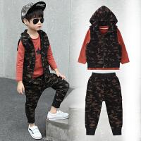 儿童装男童马甲卫衣三件套装秋冬装韩版中大童冬季潮