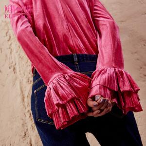 妖精的口袋堆堆秘籍秋装新款复古堆堆领纯色丝绒长袖T恤女