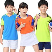 新款春夏儿童羽毛球服男童女童裤裙运动球衣速干排汗透气 童装蓝色套装 S