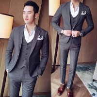 西服套装男士三件套修身小西装商务职业正装伴郎韩版新郎结婚礼服