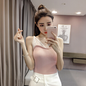 【班图诗妮】2018夏季蕾丝网纱拼接吊带针织小背心女修身显瘦打底衫