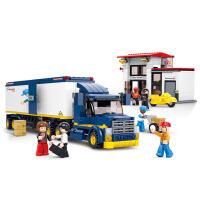 【当当自营】小鲁班模拟城市系列儿童益智拼装积木玩具 厢式重型货运车M38-B0318