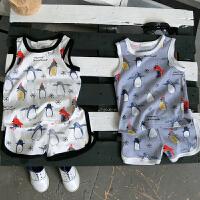 男童韩版运动套装童装透气薄款t恤短裤两件套2018夏季新款E435 Y