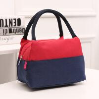帆布便当包白领带饭包防水饭盒袋手提包大容量妈咪布包手拎布袋子 红色
