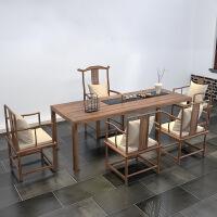 榆木实木茶桌椅子组合新中式家具茶台茶室禅意简约功夫泡茶桌 组装