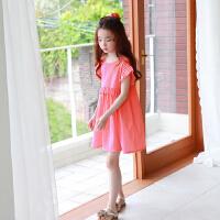 韩国童装女童海边度假沙滩裙儿童西瓜红裙子中大童夏季短袖连衣裙