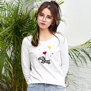秋冬季新款长袖T恤女装韩版宽松学生卡通百搭秋装上衣打底衫潮