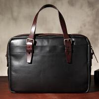 2018新款植鞣牛皮手提包公文包商务男士单肩斜跨包电脑包