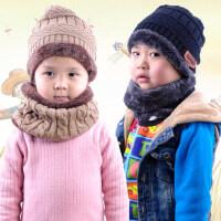 两件套亲子女孩围脖 户外保暖帽子围巾 加绒宝宝毛线帽 加厚儿童保暖围巾