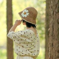 大花朵遮阳帽小沿草帽女柔软可折叠盆帽渔夫帽休闲度假太阳帽