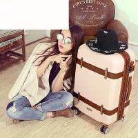 复古拉杆旅行箱万向轮女小清新行李箱欧美2024寸登机箱学生 米白色 20寸