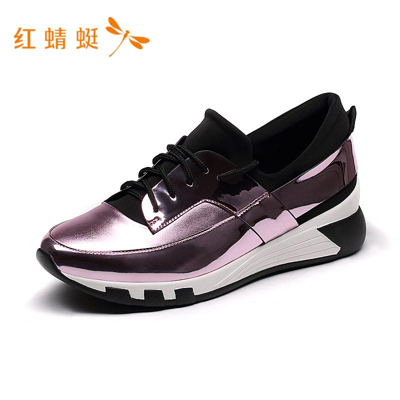 红蜻蜓女百搭韩版厚底减震舒适防滑透气系带休闲鞋女板鞋子