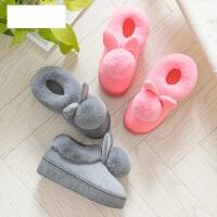 新款全包跟厚底可爱月子鞋女 韩版可爱立体兔球防滑棉鞋 高跟毛绒棉拖鞋女士
