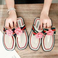 拖鞋女士室内家用防滑软底平底韩版花朵沙滩人字拖