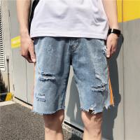 夏季牛仔短裤男士五分裤弹力破洞薄款直筒宽松中裤港风马裤潮