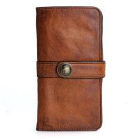 原创设计手工复古真皮男士长款钱包头层牛皮女士手包搭扣软皮潮 复古棕色