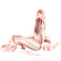 时尚成人专业芭蕾舞鞋初学者女童脚尖硬底硅胶绑带缎面练功足尖鞋潮