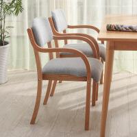 现代简约北欧实木餐椅日式曲木布艺椅靠背扶手家用办公书桌电脑椅