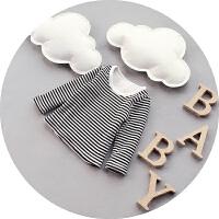 男宝宝冬装婴儿条纹打底衫纯棉加绒加厚新生儿抓绒卫衣0-1-2岁潮