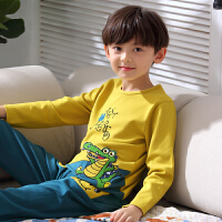 儿童睡衣男童春秋长袖纯棉套装 夏季薄款空调服男孩中大童家居服
