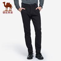 骆驼男装 2018秋季新款青年时尚纯色中腰直筒韩版舒适休闲长裤男