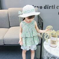 女童吊带裙套装夏儿童背心裙夏季宝宝短裤两件套薄款婴儿衣服