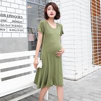 孕妇连衣裙夏装2018新款短袖宽松中长款韩版上衣孕妇裙子夏 X