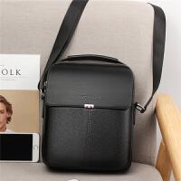 韩版男包包男士单肩包斜挎包商务休闲皮包竖款小手提包潮背包挂包 黑色大号 送手包