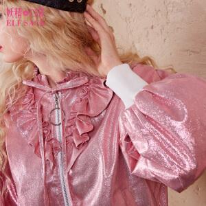 【尾品汇大促】妖精的口袋闪光女孩秋装新款宽松复古甜美棒球服短外套女
