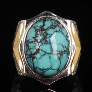 男款 原矿高瓷绿松石大戒指