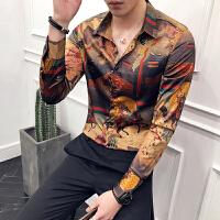 2018春季新款衬衫长袖 潮男士修身个性仙鹤日系印花夜店帅气衬衣