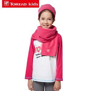 探路者童装 男女童户外风格抓绒帽子/围巾套装