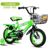 儿童自行车3岁宝宝脚踏单车2-4-6-7-8-9-10岁男女小孩童车 绿色++后座 闪光轮
