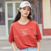 茵曼短袖t恤女2020夏�b新款文�趣味印花格�y拼接�棉��松上衣【1802184】