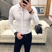 2018春季装潮男士修身长袖衬衫青年韩版英伦发型师休闲紧身白衬衣