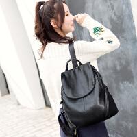 双肩包女韩版潮休闲新款时尚百搭软皮女士包包配真皮女包背包