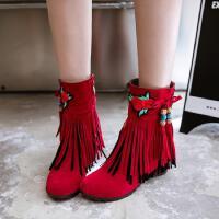 流苏靴短靴女内增高秋冬学生民族风春季个性韩版潮秋季