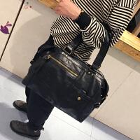 新款韩版男包潮流时尚手提包单肩包斜跨包旅行包商务男士百搭包包 黑色