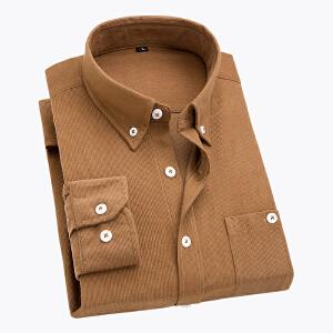 男士灯芯绒长袖衬衫英伦风时尚百搭青年衬衣